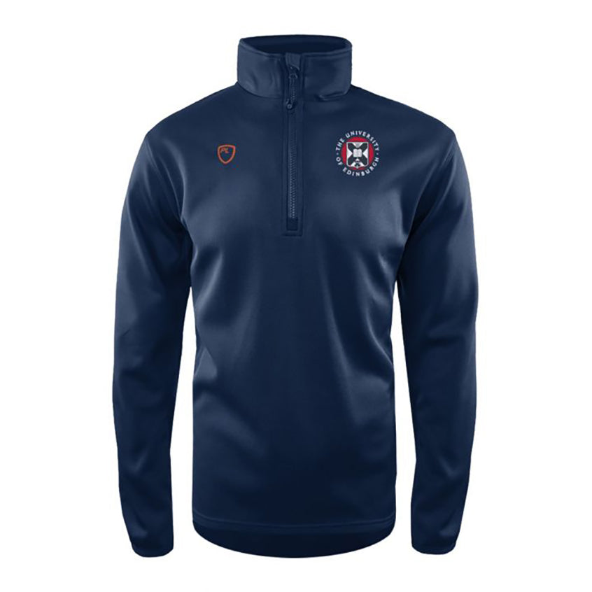 Mens Playerlayer midlayer in Navy. 1/4 Zip detail, University of Edinburgh Crest and Player Layer logo.