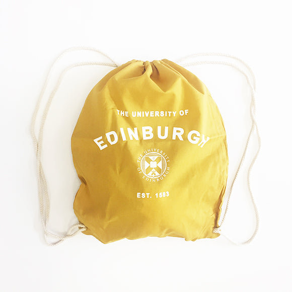 A Cotton drawstring bag in Mustard Yellow featuring the Edinburgh University crest printed in white and bold text that reads: 'the University of Edinburgh, Established 1583'