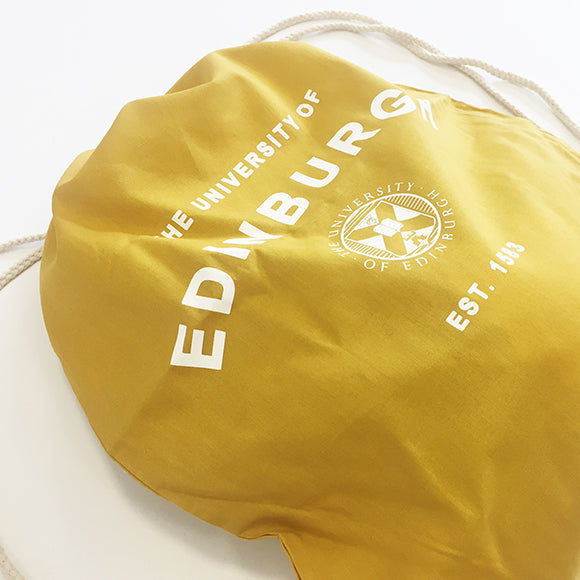 A close up of the print in the bag featuring the Edinburgh University crest in White and text that reads: 'The University of Edinburgh, Establisheed 1583'