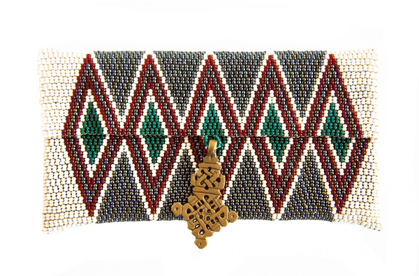 Maasai Beaded Cell Case - White / Green - Ministry of Tomorrow