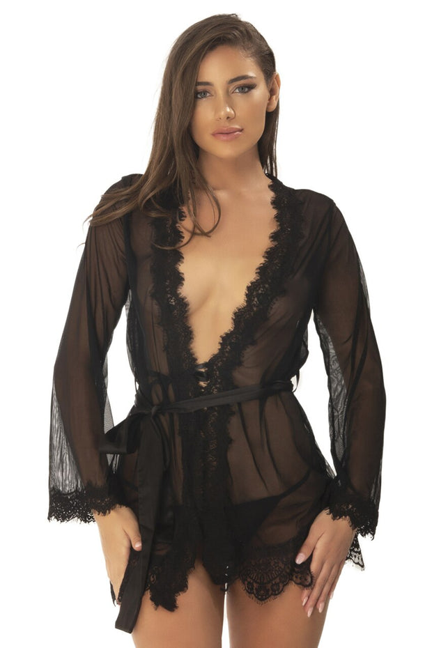 Provence Eyelash Lace Robe