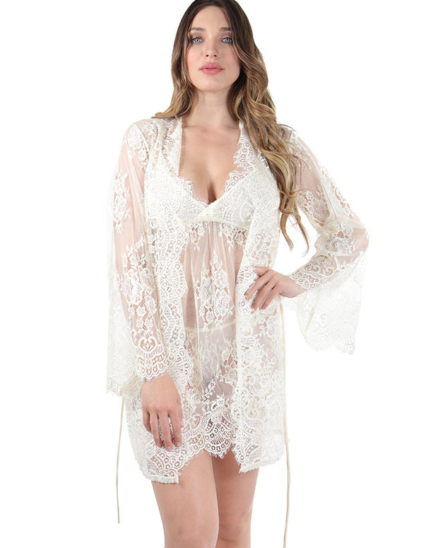 Bell Sleeve Lace Robe by MeMoi