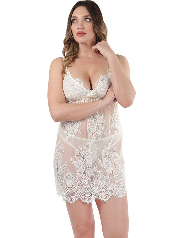 Eyelash and Scallope Lace Chemise by MeMoi
