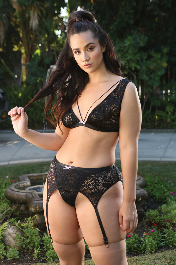 Midnight Garden Lace Bralette, Garter & G-string Set