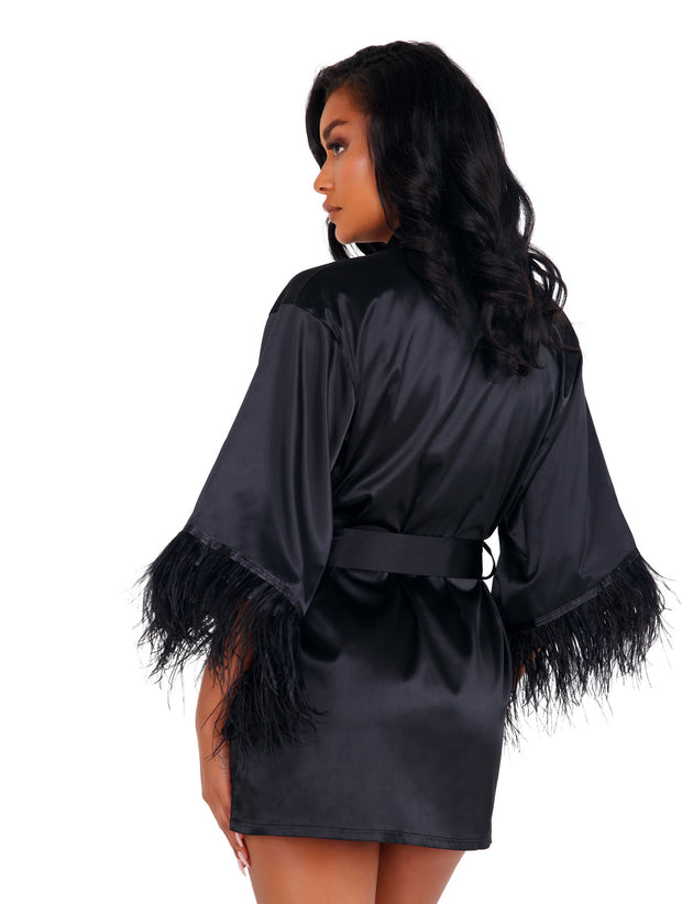 Natalie Soft Satin Robe with Ostrich Feather