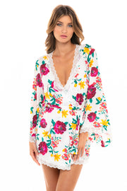 Reina Floral and Lace Robe