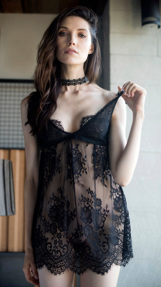 Eyelash and Scallope Lace Chemise by MeMoi - Black
