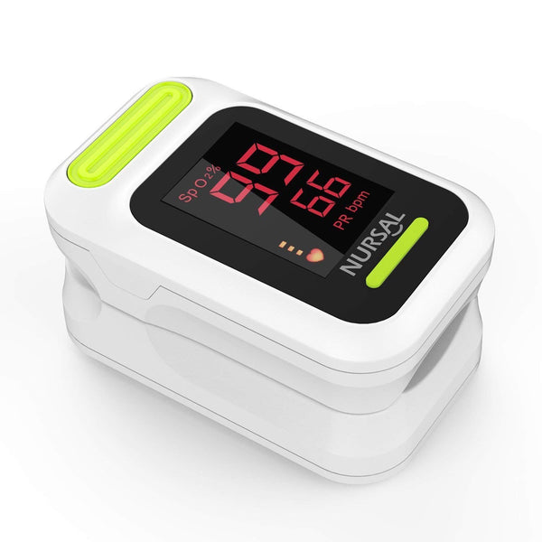 NURSAL Fingertip Pulse Oximeter Blood Oxygen Saturation Monitor with Carrying Case & Lanyard, White - ValueLink Shop