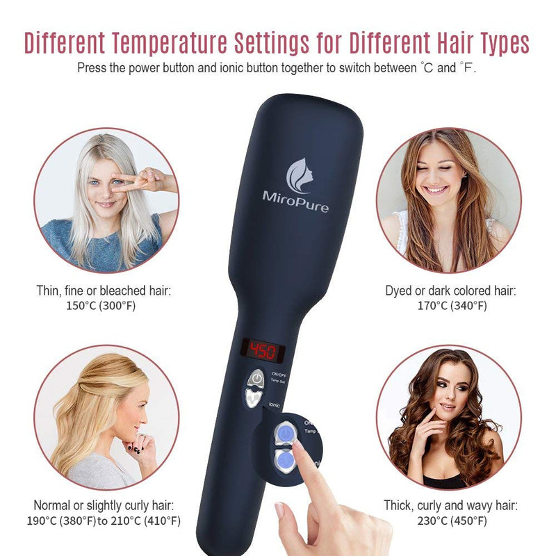 MiroPure Upgraded Ceramic Ionic Hair Straightener Brush for All Hair Types with Five Heat Settings + LED Display+Auto Shut-Off Function - ValueLink Shop
