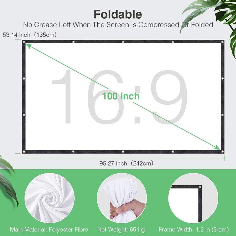 DBPOWER Portable Projector Screen (100 inch/ Foldable Anti-Crease) - ValueLink Shop