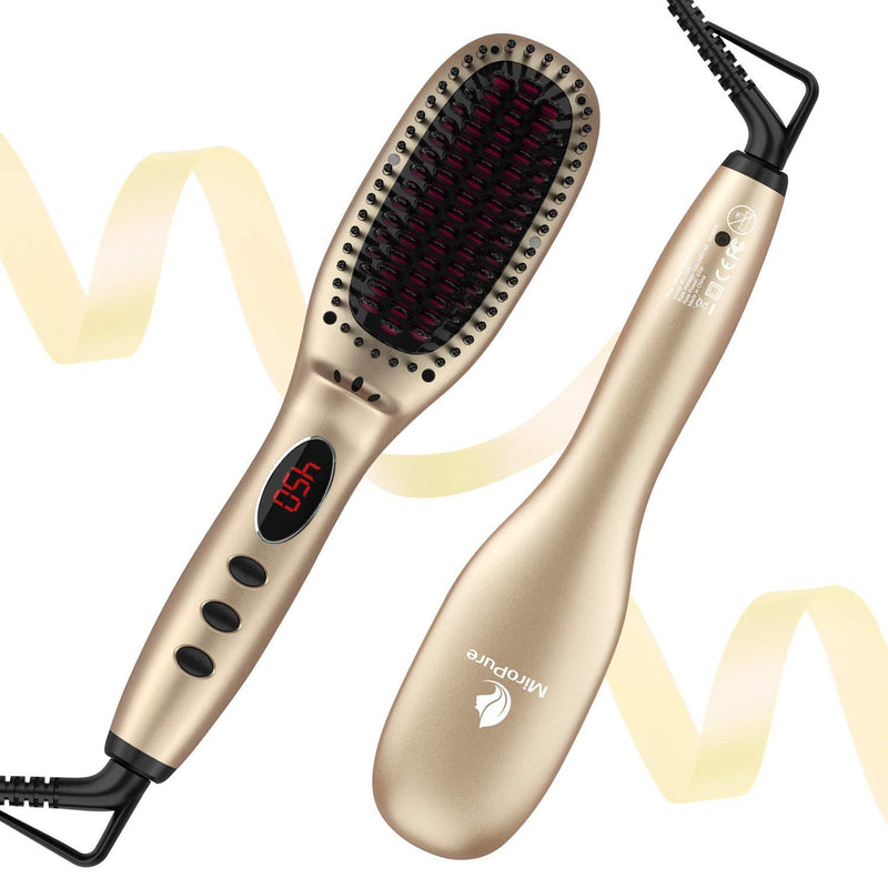 Miropure Hair Straightener Brush with Ionic Generator (30s Fast Even Heating for Straightening or Curling) - ValueLink Shop
