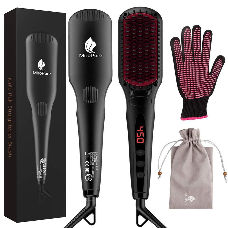 2-in-1 Ionic Enhanced Hair Straightener Brush with 30s Heat Up - ValueLink Shop