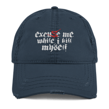 Load image into Gallery viewer, Excuse Me (Sentenced) | Distressed Cap Aighard Merchandise Webshop Excuse Me Sentenced finland crimson Navy