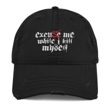 Load image into Gallery viewer, Excuse Me (Sentenced) | Distressed Cap Aighard Merchandise Webshop Excuse Me Sentenced finland crimson Black