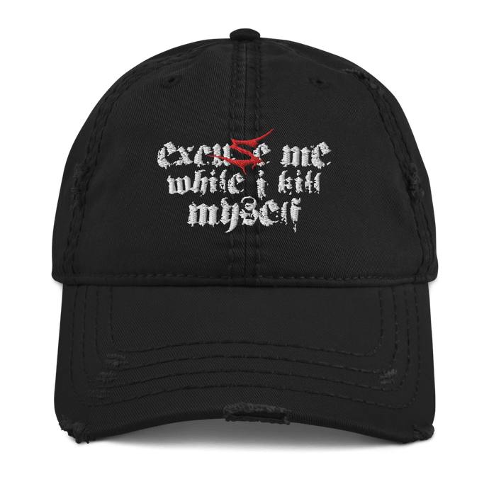 Excuse Me (Sentenced) | Distressed Cap Aighard Merchandise Webshop Excuse Me Sentenced finland crimson Black