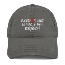 Load image into Gallery viewer, Excuse Me (Sentenced) | Distressed Cap Aighard Merchandise Webshop Excuse Me Sentenced finland crimson Charcoal Grey