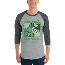 Load image into Gallery viewer, Unisex 3/4 Sleeve Raglan Shirt Unisex 3/4 Sleeve Raglan Shirt Aighard Heather Grey/Heather Charcoal XS 8 6105494 Unisex 3/4 Sleeve Raglan Shirt
