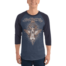 Load image into Gallery viewer, Unisex 3/4 Sleeve Raglan Shirt Unisex 3/4 Sleeve Raglan Shirt Aighard Heather Denim/Navy XS 3 5529898 Unisex 3/4 Sleeve Raglan Shirt