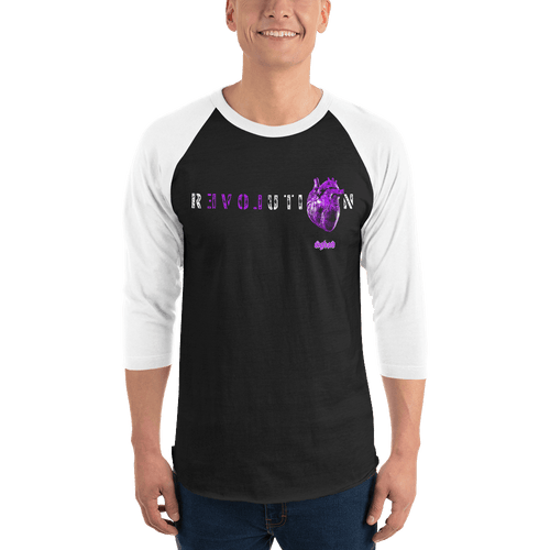 Revolution (Purple) | Unisex 3/4 Raglan Shirt Aighard Merchandise Webshop Activist Anti Activism