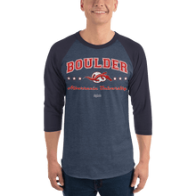 Load image into Gallery viewer, Unisex 3/4 Sleeve Raglan Shirt Aighard Heather Denim/Navy XS 3 4051719_8305 Unisex 3/4 Sleeve Raglan Shirt
