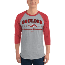Load image into Gallery viewer, Unisex 3/4 Sleeve Raglan Shirt (Variants) Unisex 3/4 Sleeve Raglan Shirt Aighard Heather Grey/Heather Red XS 5 7028298_8317 Unisex 3/4 Sleeve Raglan Shirt (Variants)