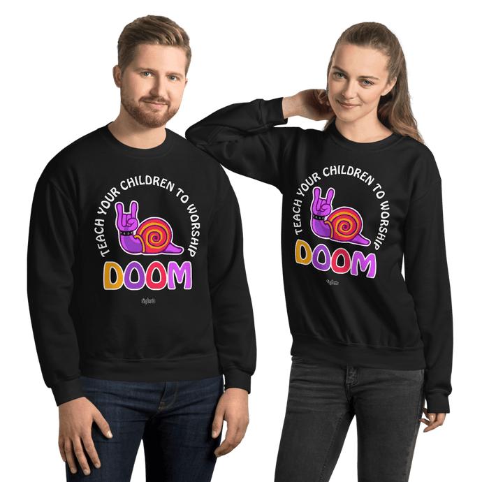 Teach Doom | Unisex Sweatshirt Aighard Merchandise Webshop Child children Birthday Black