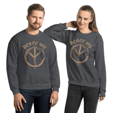 Load image into Gallery viewer, Peace Off | Unisex Sweatshirt Aighard Merchandise Webshop Anti Love Hippie Absence Of War Doesn't Mean Peace Dark Heather
