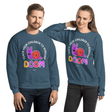 Load image into Gallery viewer, Teach Doom | Unisex Sweatshirt Aighard Merchandise Webshop Child children Birthday Indigo Blue