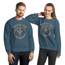 Load image into Gallery viewer, Peace Off | Unisex Sweatshirt Aighard Merchandise Webshop Anti Love Hippie Absence Of War Doesn't Mean Peace Indigo Blue