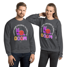 Load image into Gallery viewer, Teach Doom | Unisex Sweatshirt Aighard Merchandise Webshop Child children Birthday Dark Heather