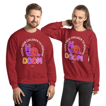Load image into Gallery viewer, Teach Doom | Unisex Sweatshirt Aighard Merchandise Webshop Child children Birthday Red