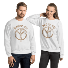 Load image into Gallery viewer, Peace Off | Unisex Sweatshirt Aighard Merchandise Webshop Anti Love Hippie Absence Of War Doesn't Mean Peace White