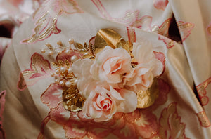 Blush and Gold Floral Comb