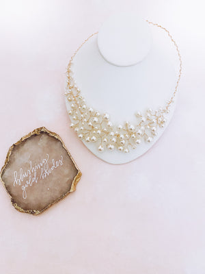 Falling Pearls Necklace in Gold