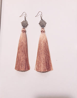 Dusty Rose Fringe Earrings