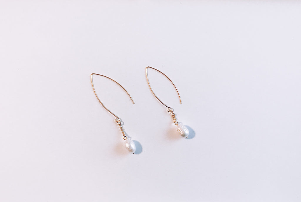 Pearl Drop Earrings in Gold