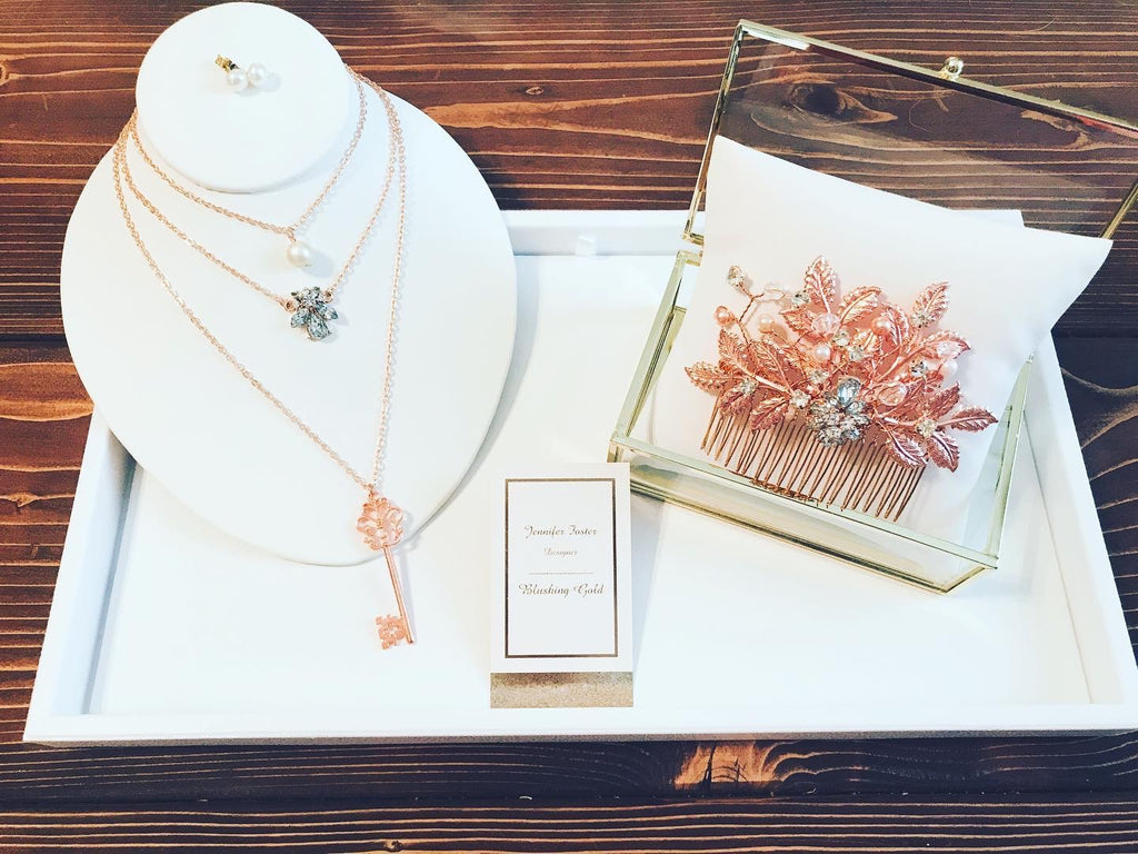 Pearl Tri Strand Necklace in Rose Gold