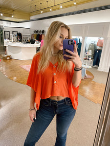 Eli Linen Top | Orange