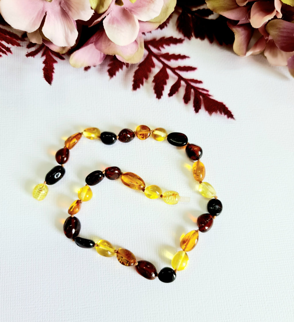 Mixed Amber Large Bean Shaped Natural Baltic Amber Necklace