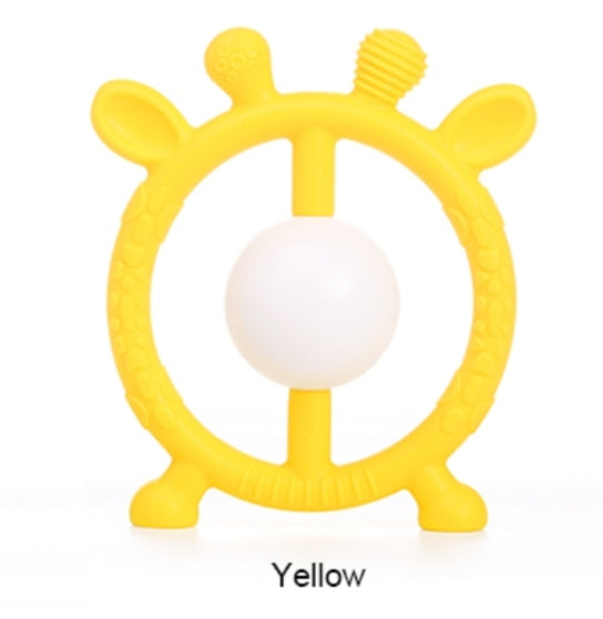 Silicone Toy  - Yellow Deer Rattle Silicone Toy - The Beaded Bub