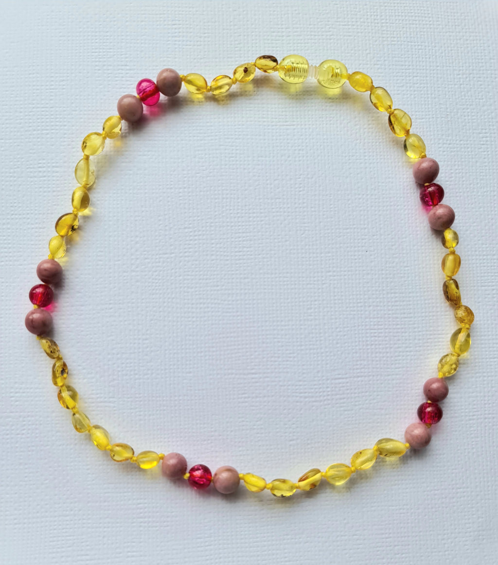 Baltic Lemon Amber Bead with Rhodochrosite with Pink spacer - The Beaded Bub