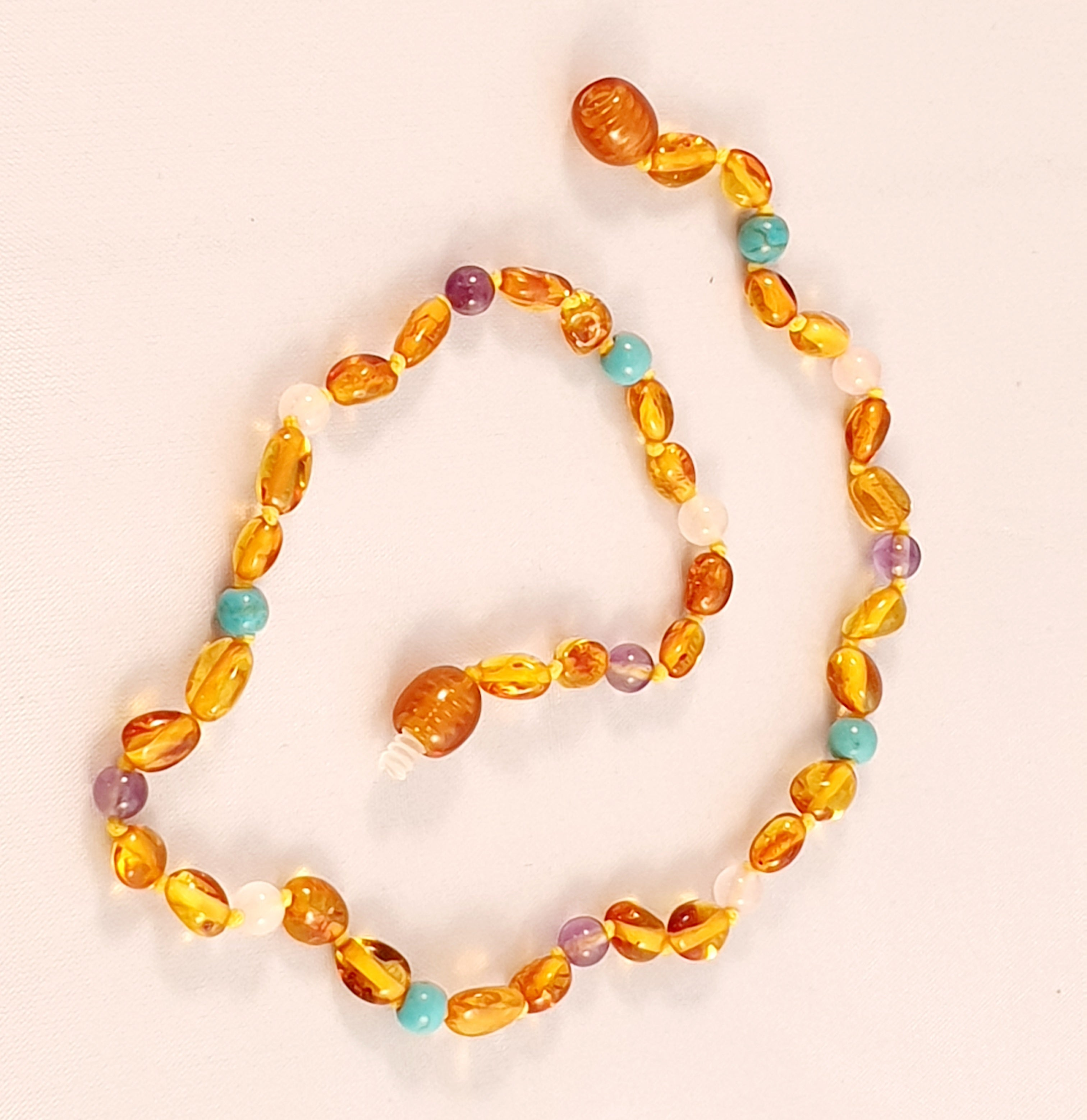 Baltic Ligh Cognac Amber with Blue Turquoise, Purple Amethyst and Pink Quartz - The Beaded Bub