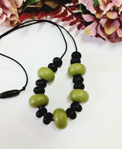 Army Green and Black Silicone Necklace