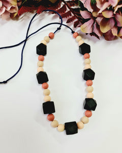 Mixed Earthy-Tones and Black Silicone Necklace