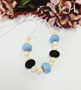 Pale Blue, Beige and Black Silicone Necklace