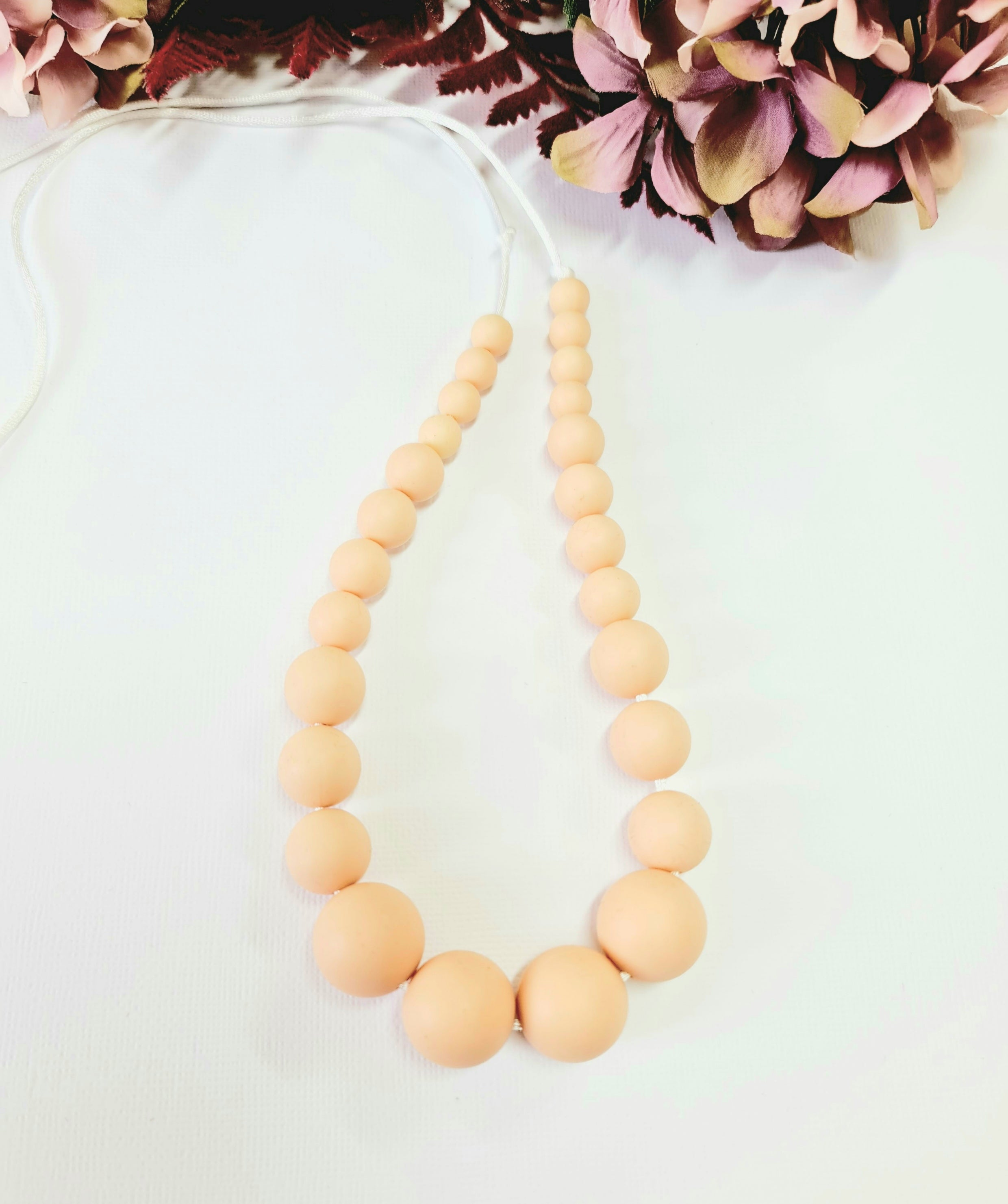 Beige Silicone Bead Necklace