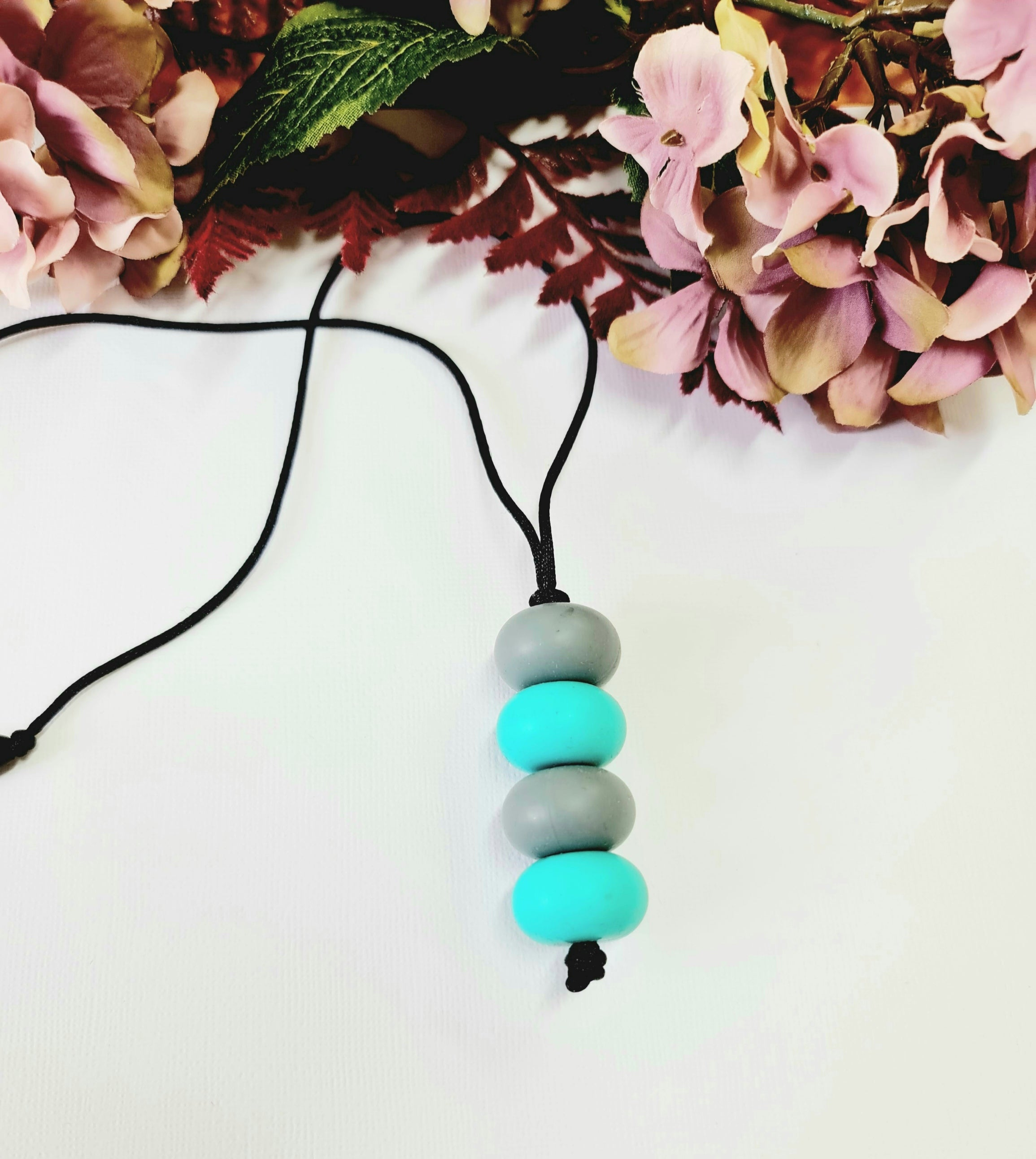 Turquoise and Grey Silicone Necklace