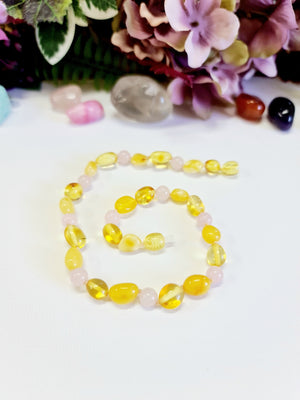 Lemon and Butterscotch Large Bean-Shaped Amber with Pink Quartz Necklace