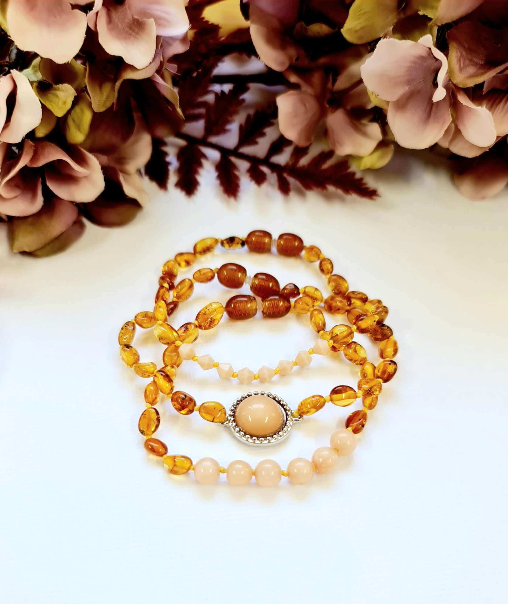 3 pack - Layered Amber Bracelet with Peach Coloured Spacers