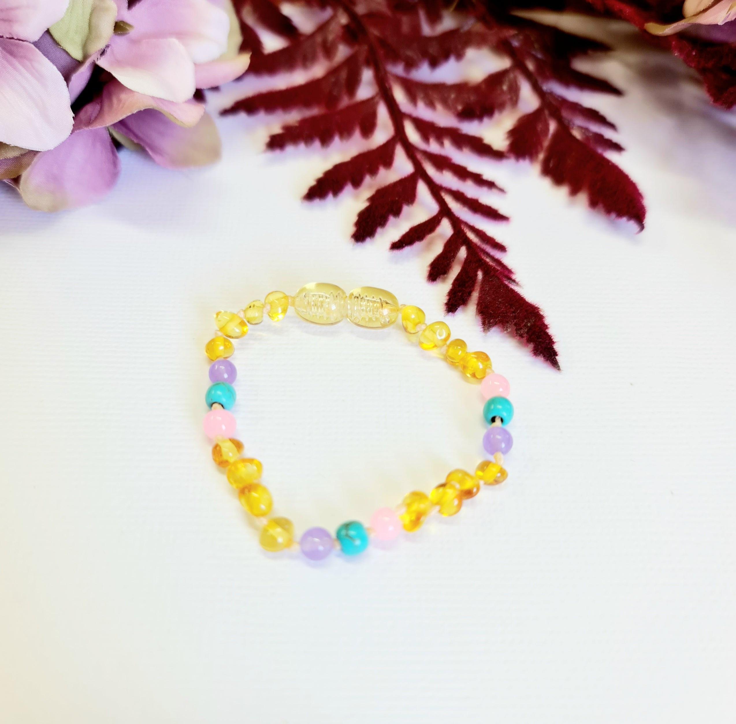 Small Round Lemon Amber Amethyst, Pink Quartz and Blue Turquoise Bracelet or Anklet